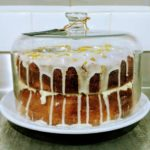 Lemon drizzle cake on display