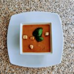 Tomato soup with crouton toppings